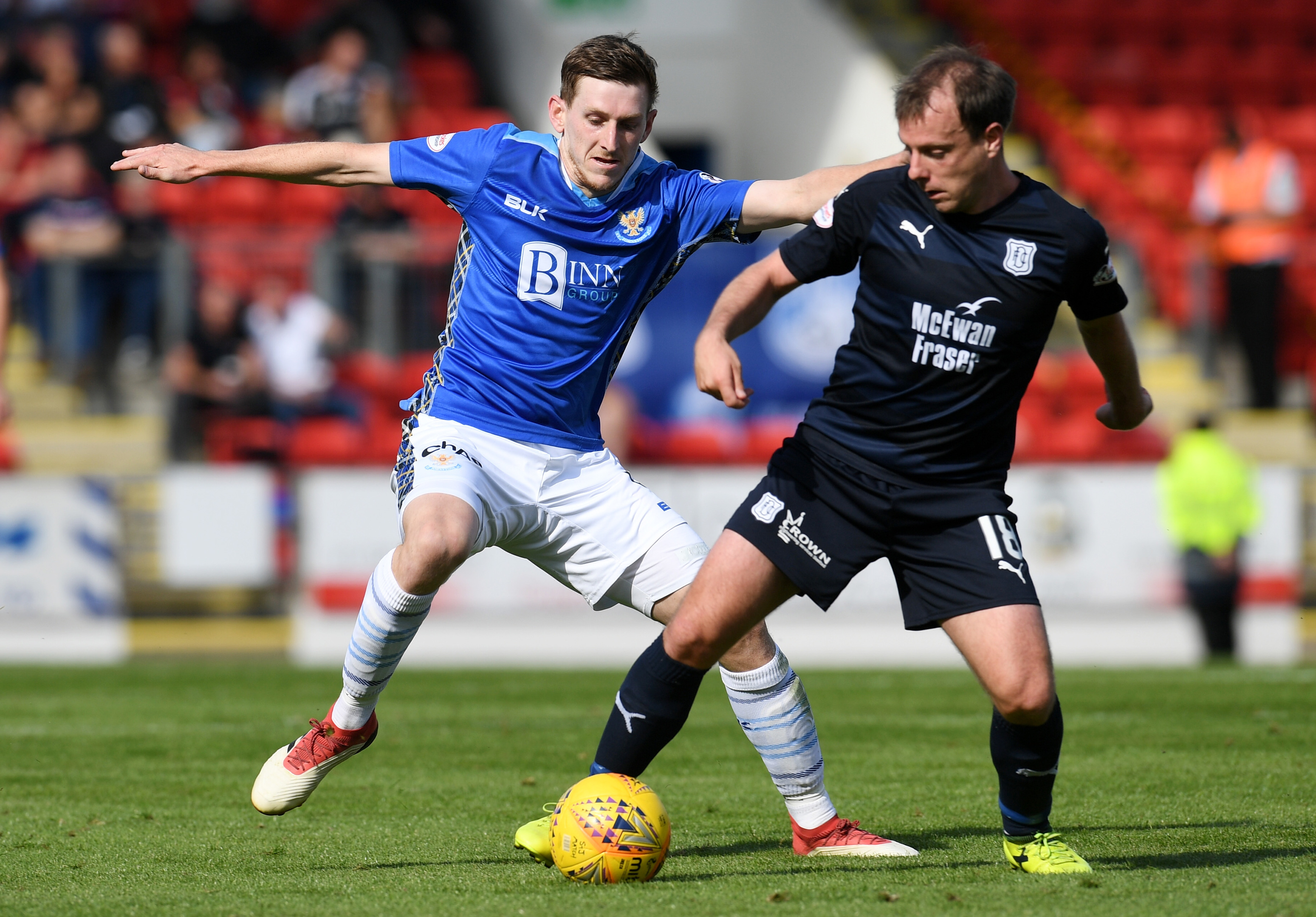 Dundee's Paul McGowan holds off St Johnstone's Blair Alston.
