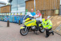Inverkeithing rider, Robin Cook with Iain Dalling (ROSPA) and Sgt Young from Police Scotland at a previous Destination Drive event in Dunfermline