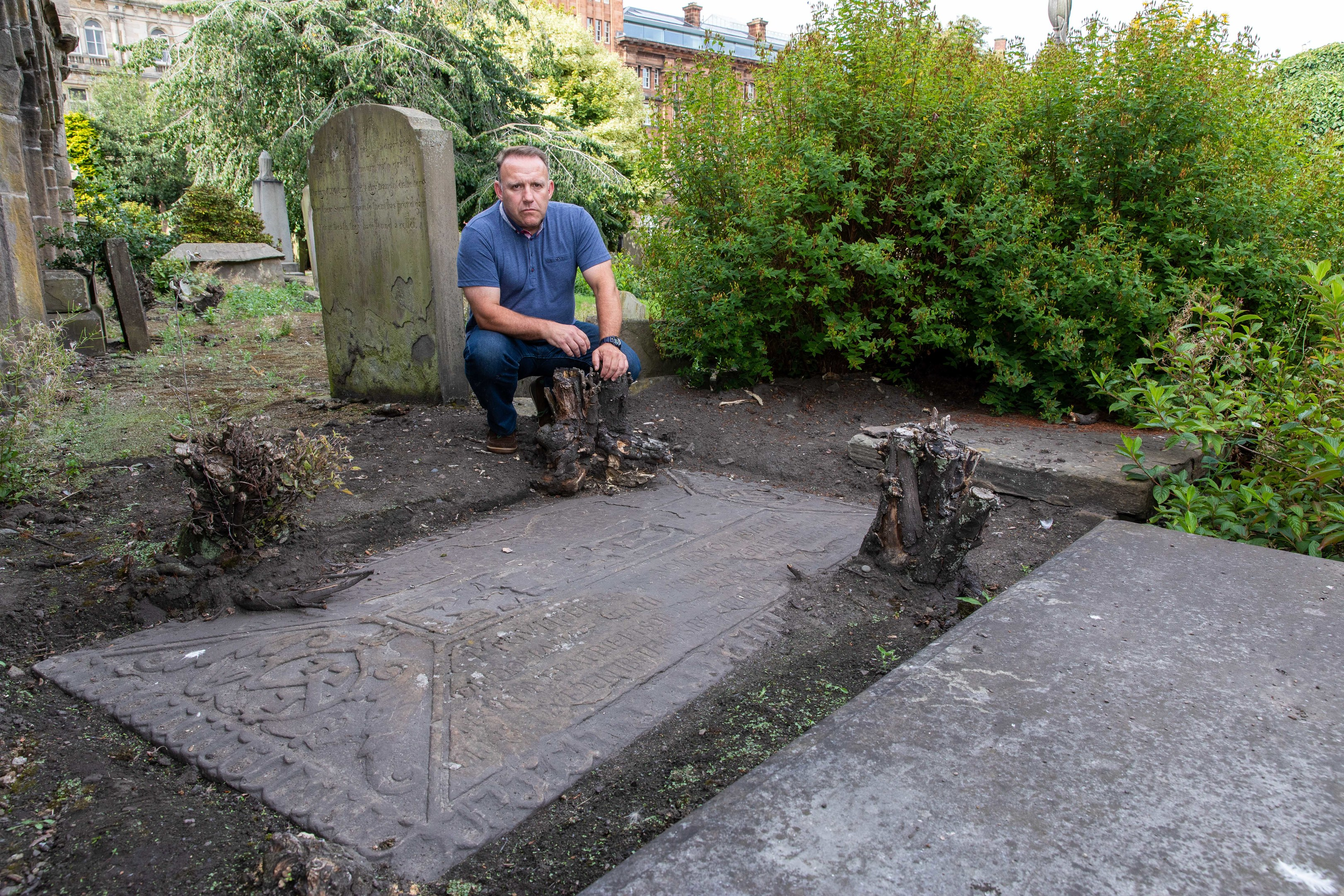 The 400-year-old gravestone was damaged after it was uncovered by a member of the public