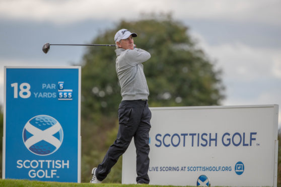Euan McIntosh, bidding for a Scottish Amateur Championship matchplay and strokeplay double, is one off the lead after 18 holes.