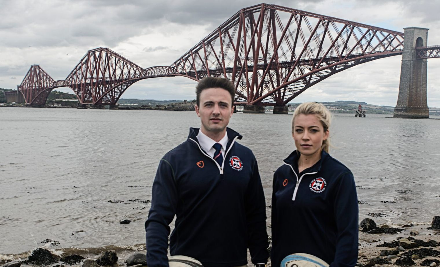 University of St Andrews 1st XV Captains Roland Walker and Amy Parry.
