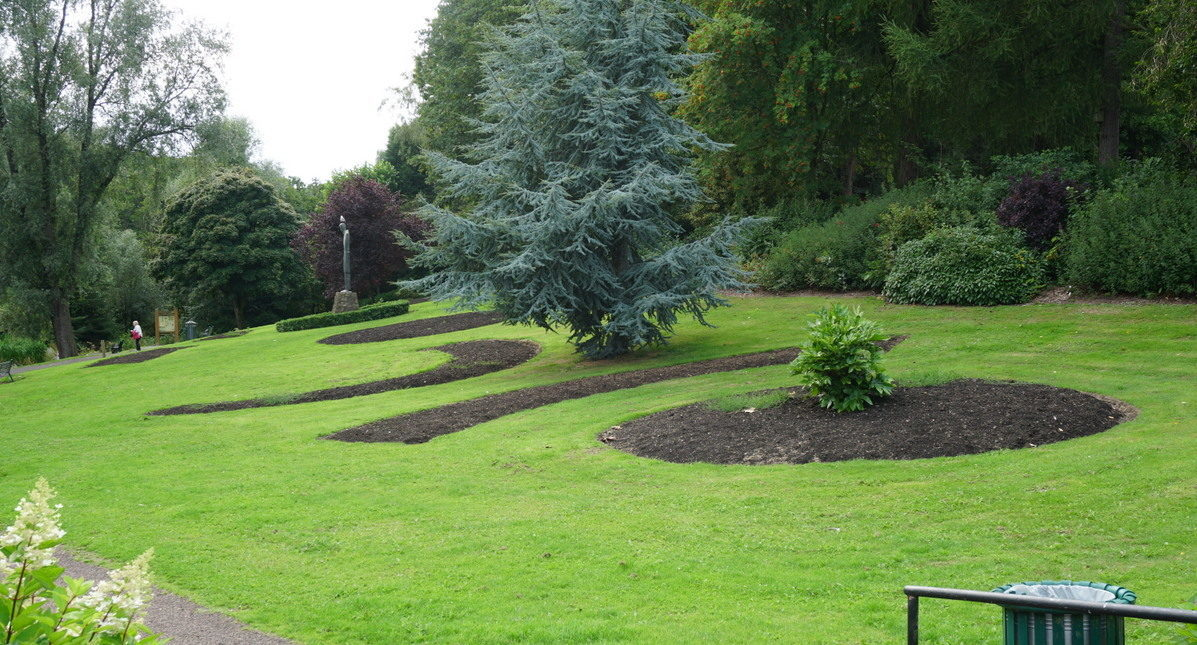 The normally colourful flower beds at Riverside Park are lying empty