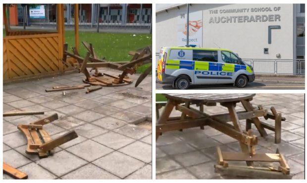 Vandalism at the Community School of Auchterarder.