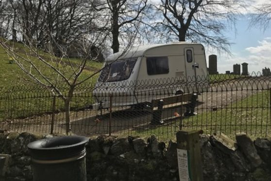 A caravan filled with junk was dumped near Cortachy