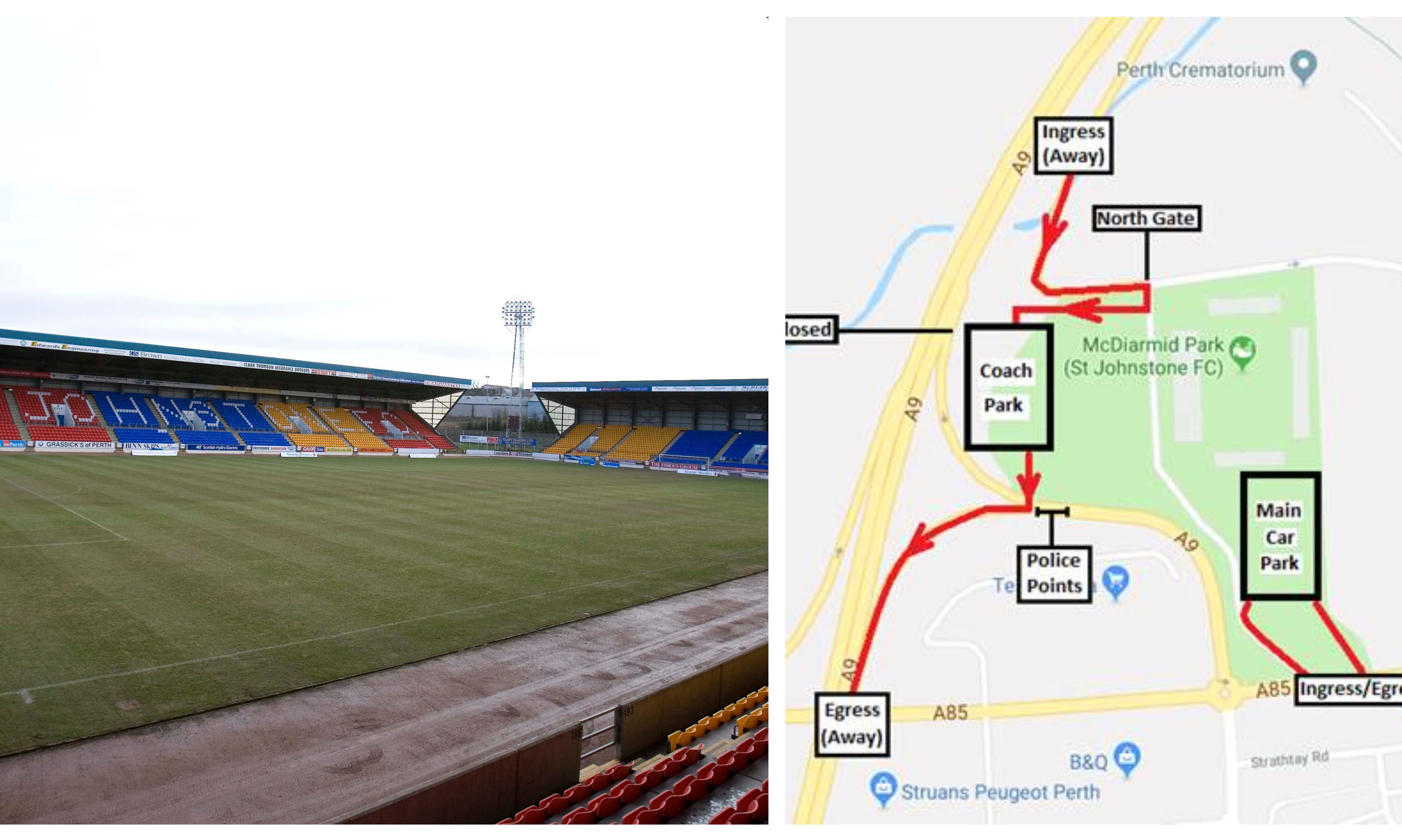 McDiarmid Park and the police traffic plan.