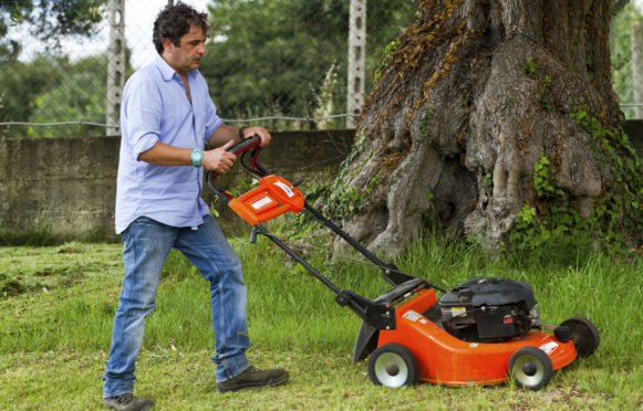 People can mow lawns or wash windows