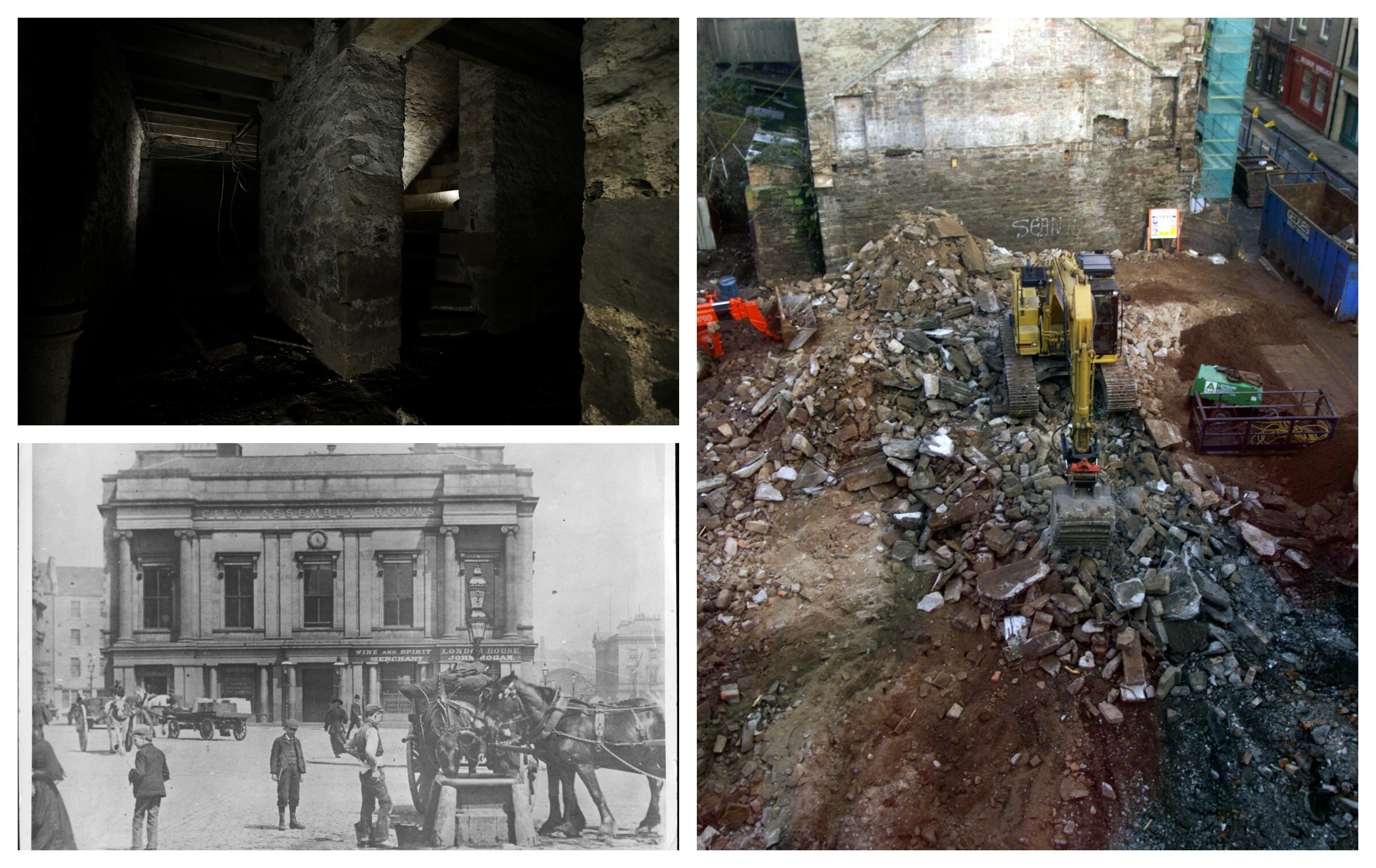 Right - The scene on the Exchange Street construction site on November 27 2000 when the vaults (top left) were first unearthed after some 250 years. Bottom left shows Dundee's Exchange Street area in days gone by.