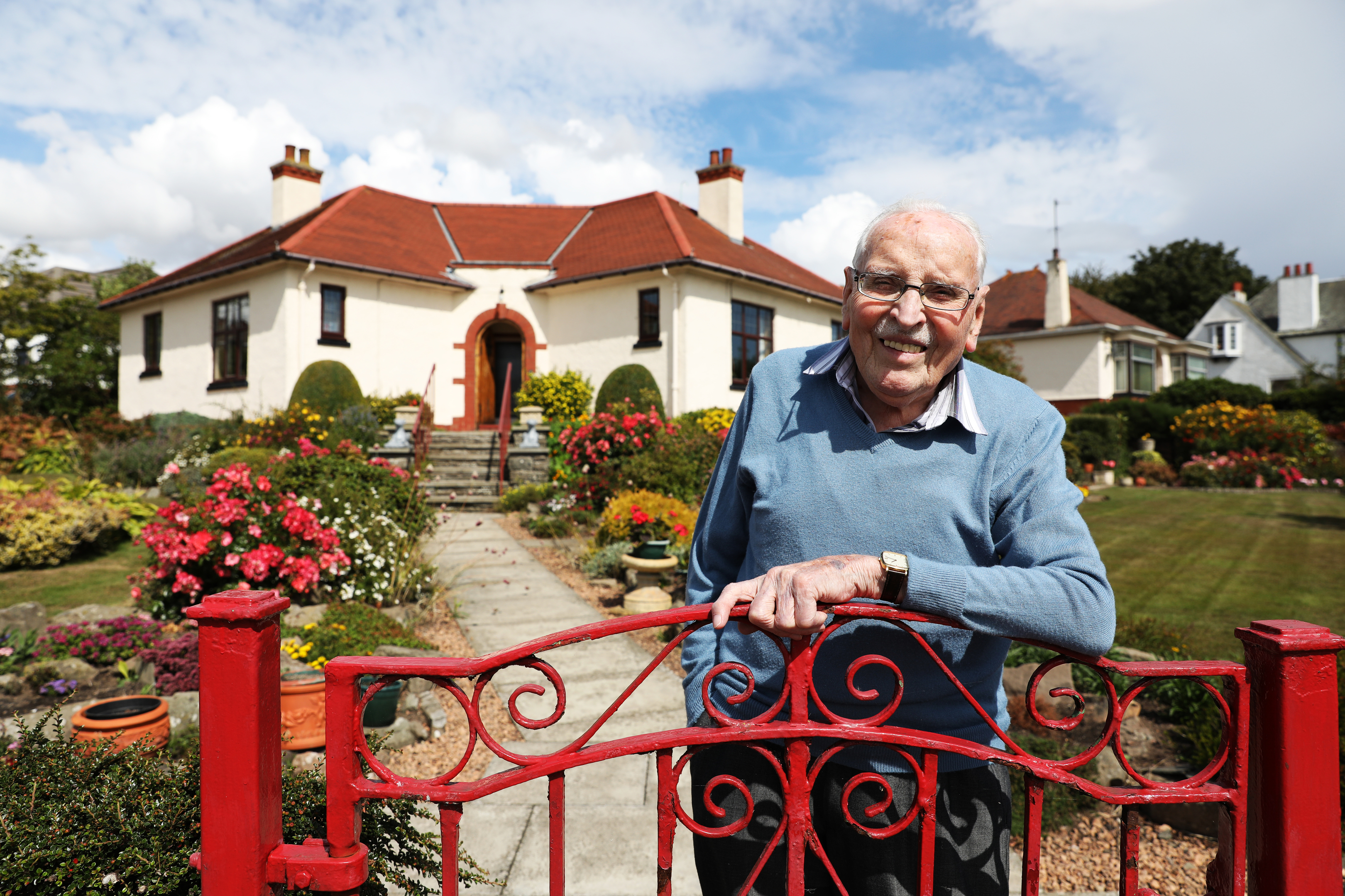Stuart Bannerman outside his home, where he has lived since he was born in 1928.