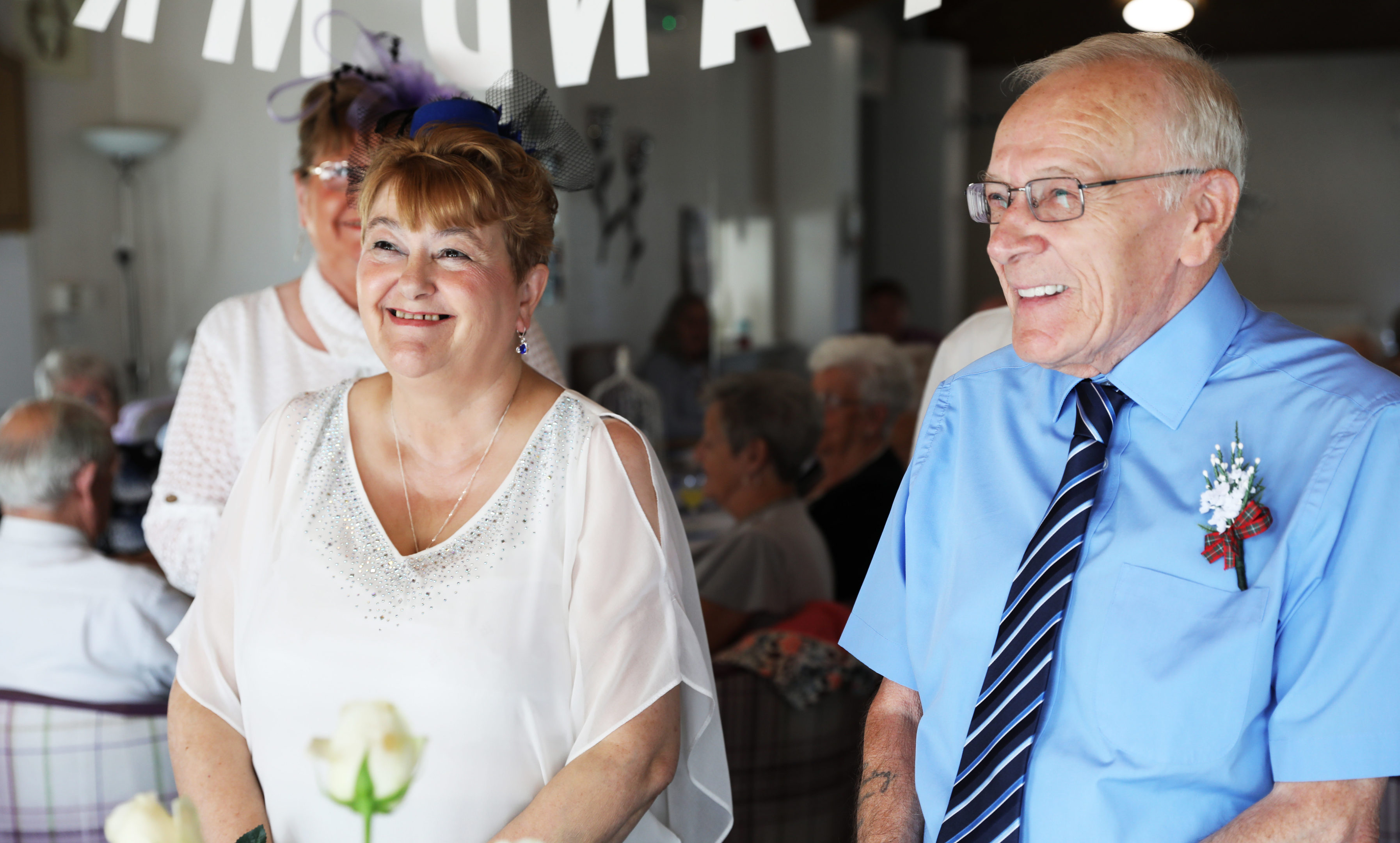 Pauline Hepburn and Sam Wyllie tie the knot at the sheltered housing complex.