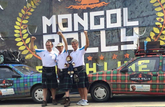 The trio at the finish line of the Mongol Rally