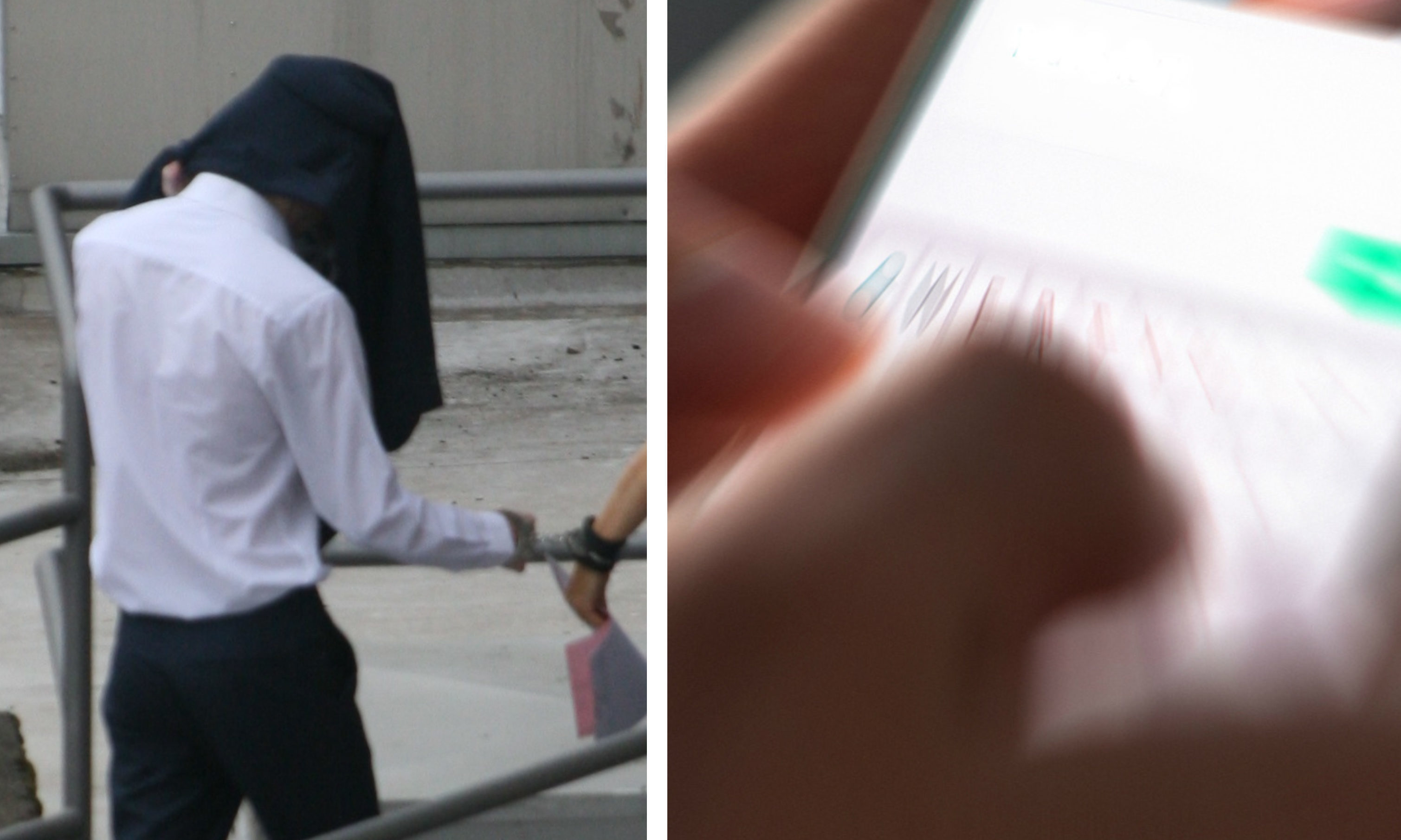 O'Neill, who was found guilty of online extortion, hid his face as he was led into court.