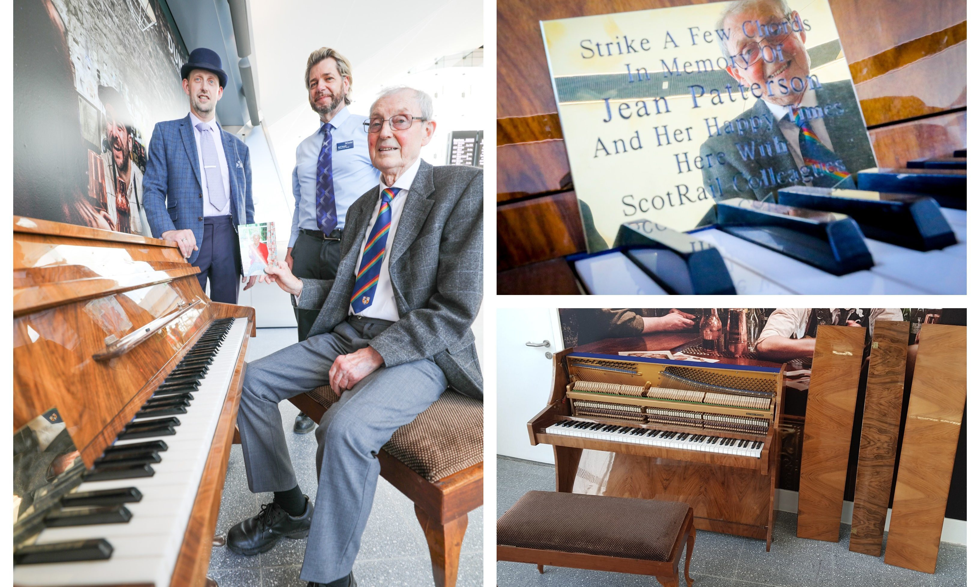 Dave Patterson gifted the piano to Dundee Station in memory of his wife, Jean. The bottom-left photo shows the condition of the instrument after vandals damaged it.