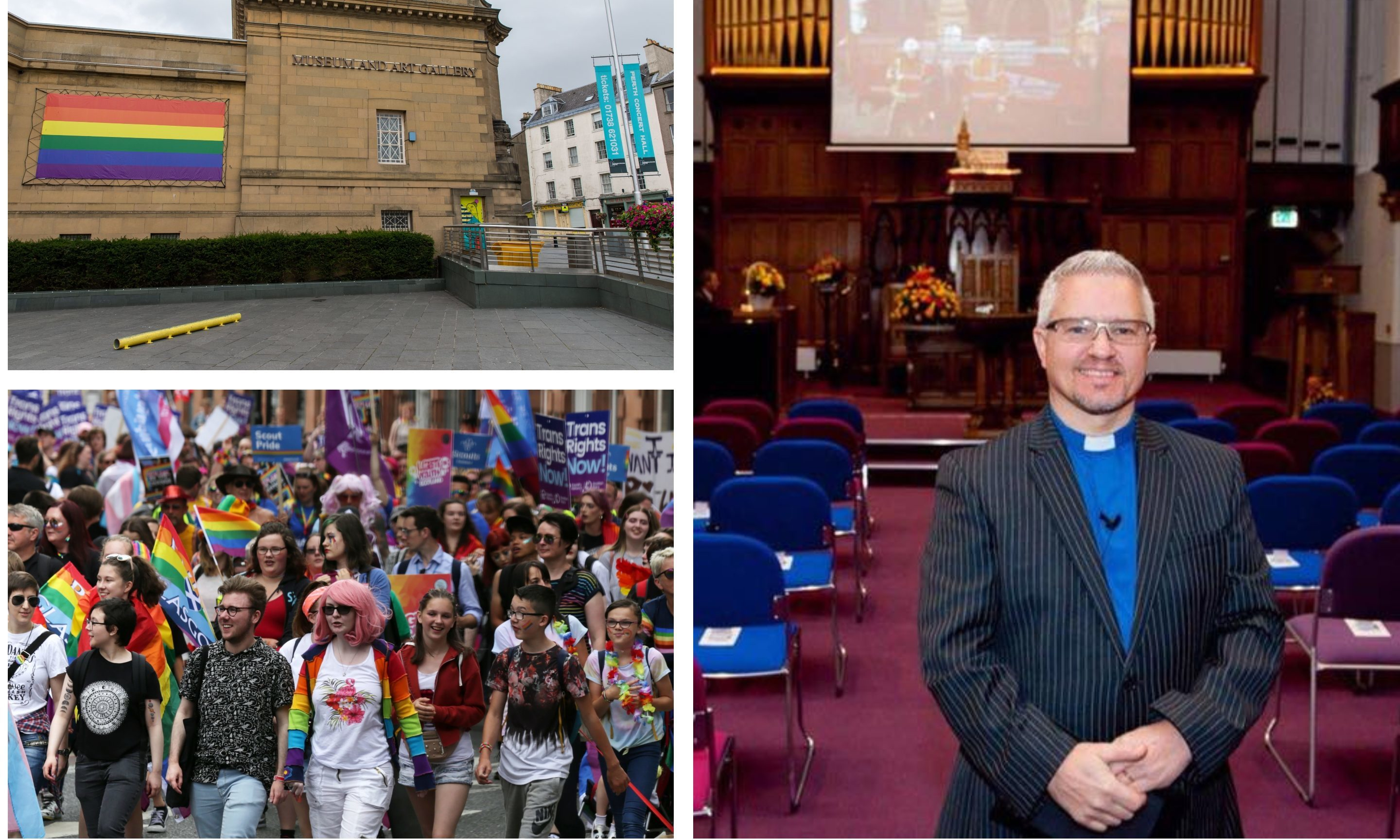 Rev Scott Burton, the Pride flag currently flying in Perth and a march in Glasgow earlier this year.