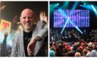 Geoff Ellis, left, and the first concert at Slessor Gardens, right.
