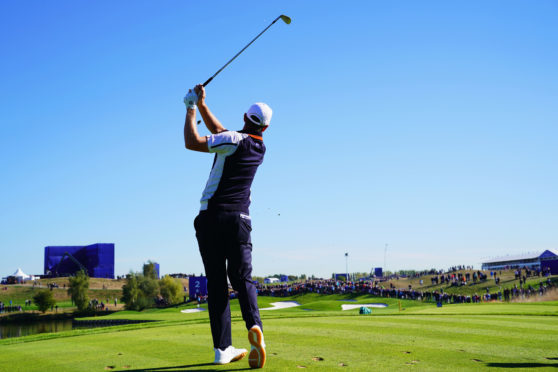 Justin Rose of Europe in practice at the Ryder Cup in Paris.