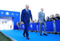 Captains Thomas Bjorn and Jim Furyk emerge at the opening ceremony for the 2018 Ryder Cup at Le Golf National.