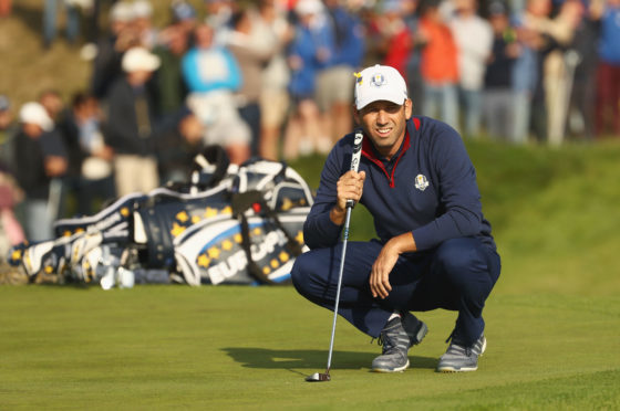 Sergio Garcia is back out in fourballs with Rory McIlroy on the second day of the Ryder Cup.