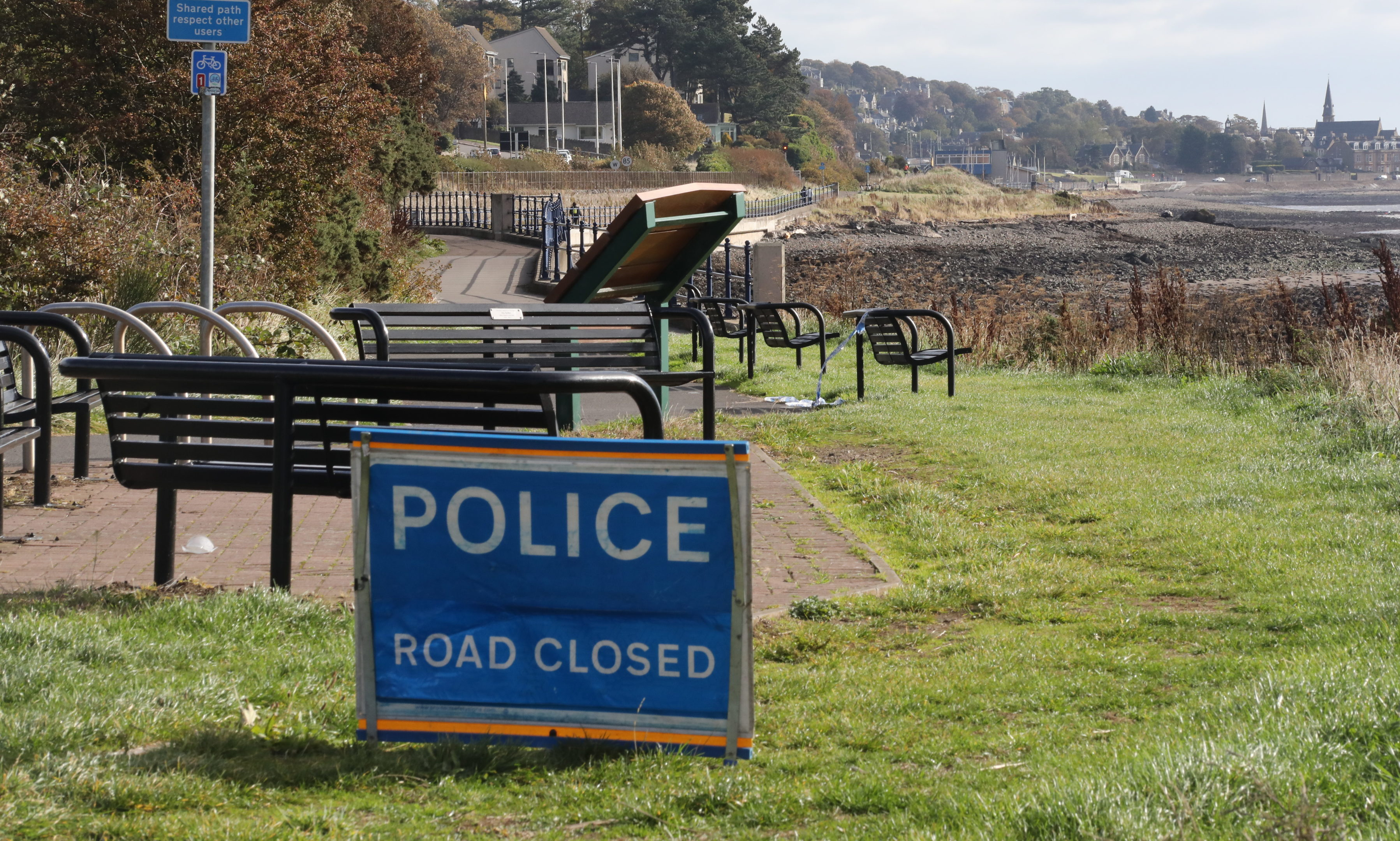 Police have closed the path from Stannergate to Broughty Ferry.