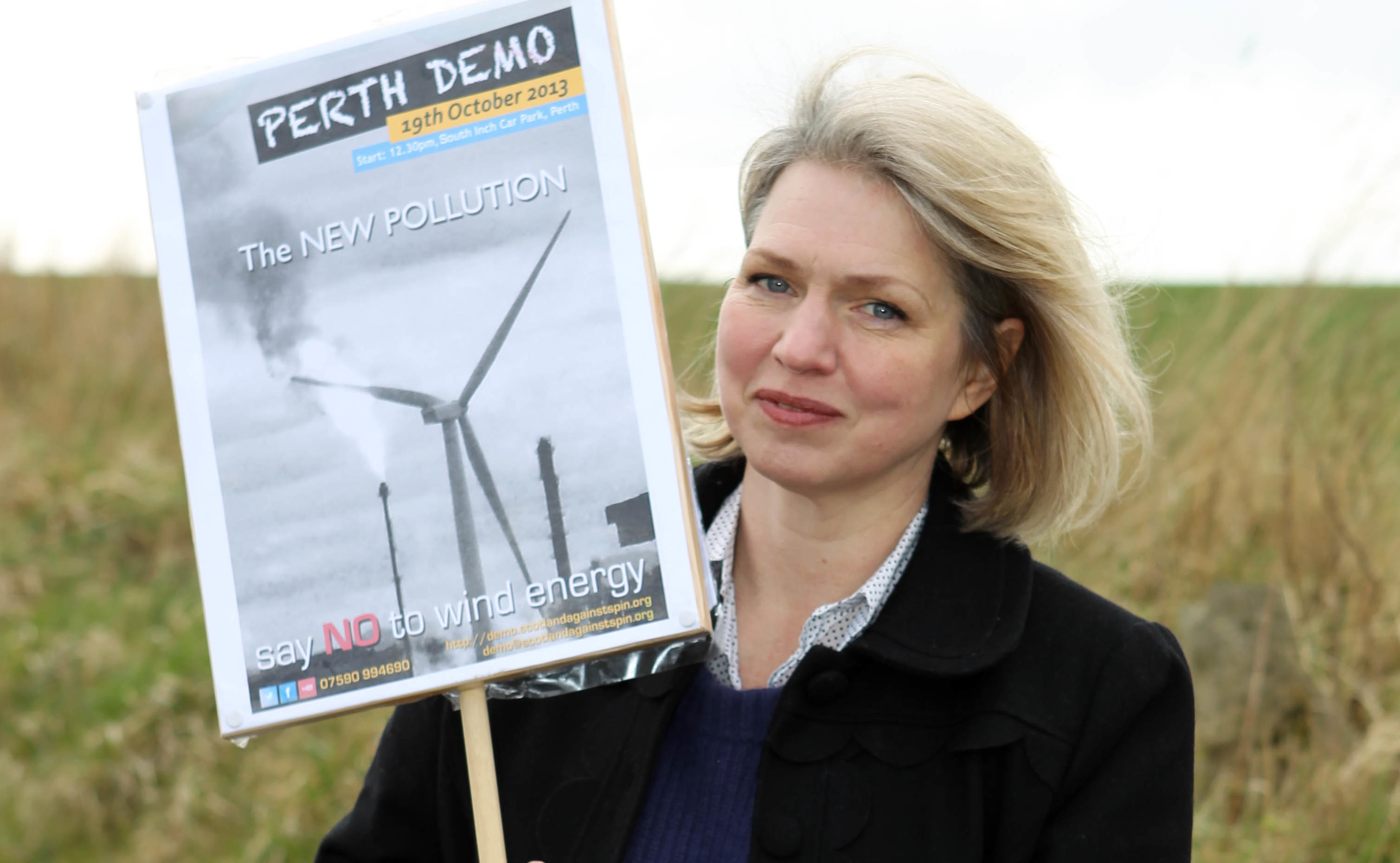 Linda Holt protesting wind farms in 2014.