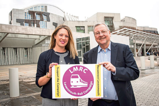 Jenny Gilruth MSP for Mid Fife and Glenrothes with Eugene Clarke, Chairman of Levenmouth Rail Campaign (LMRC) at the Scottish Parliament.