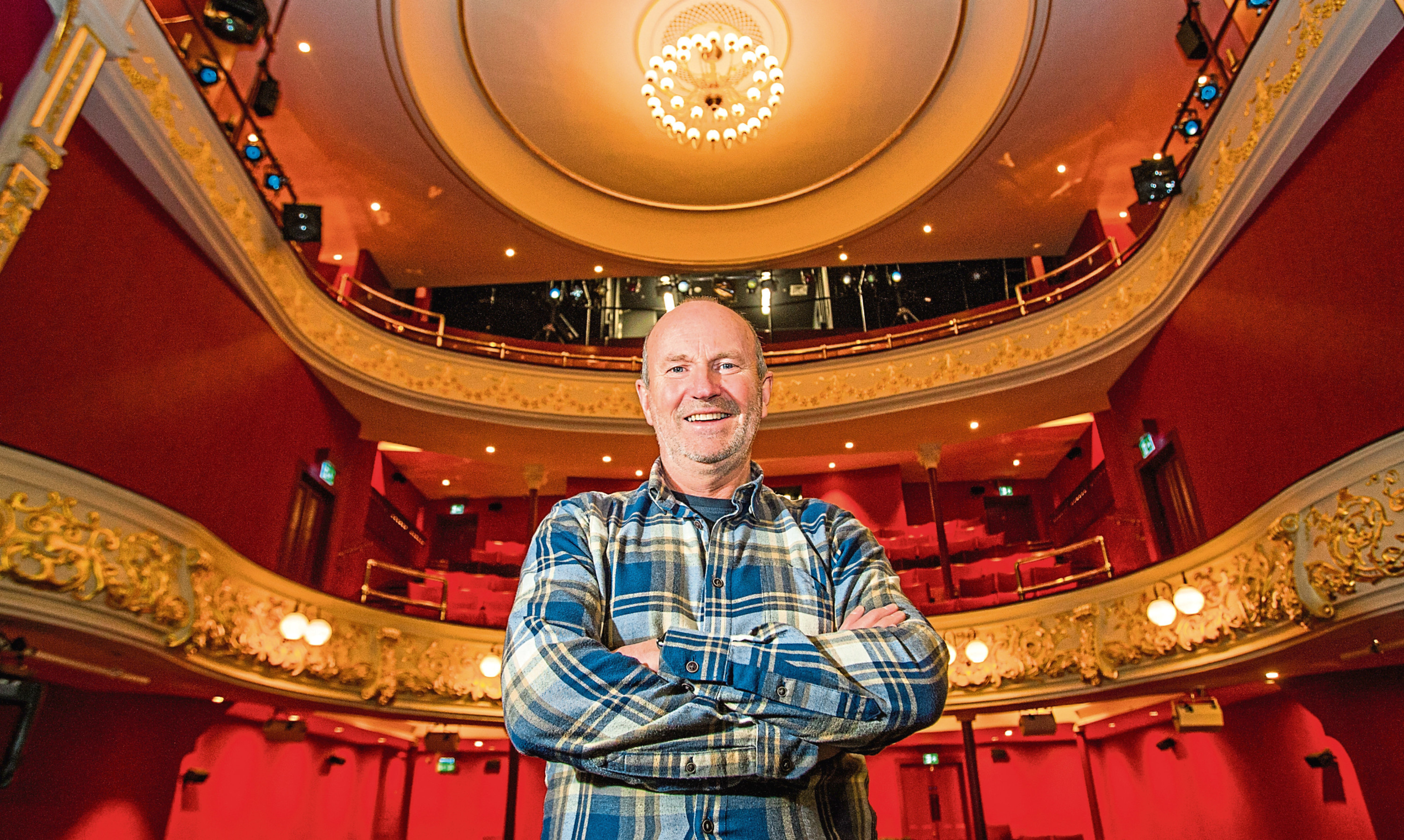 Comedian Fred Macaulay enjoys the revamped surroundings of Perth Theatre.
