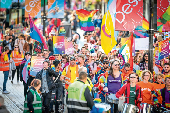 The Dundee Pride parade making its way to City Square on Saturday September 22, 2018.