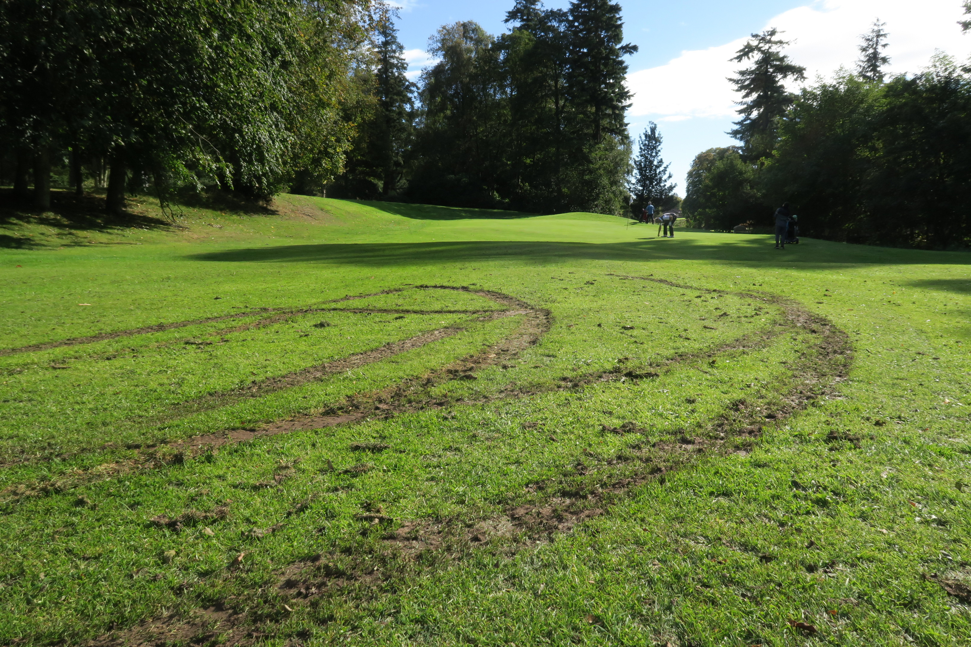 Some of the fairways were ripped up.