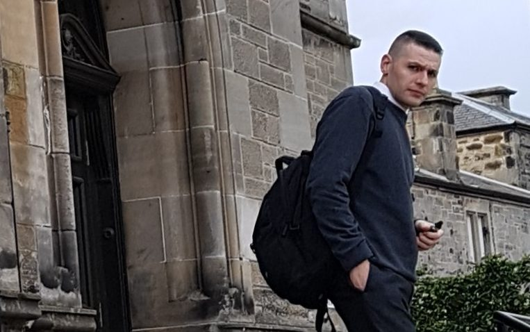 Archibald Smith outside Kirkcaldy Sheriff Court, moments before being arrested by the police.