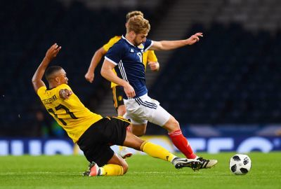 Stuart Armstrong in action against Belgium.
