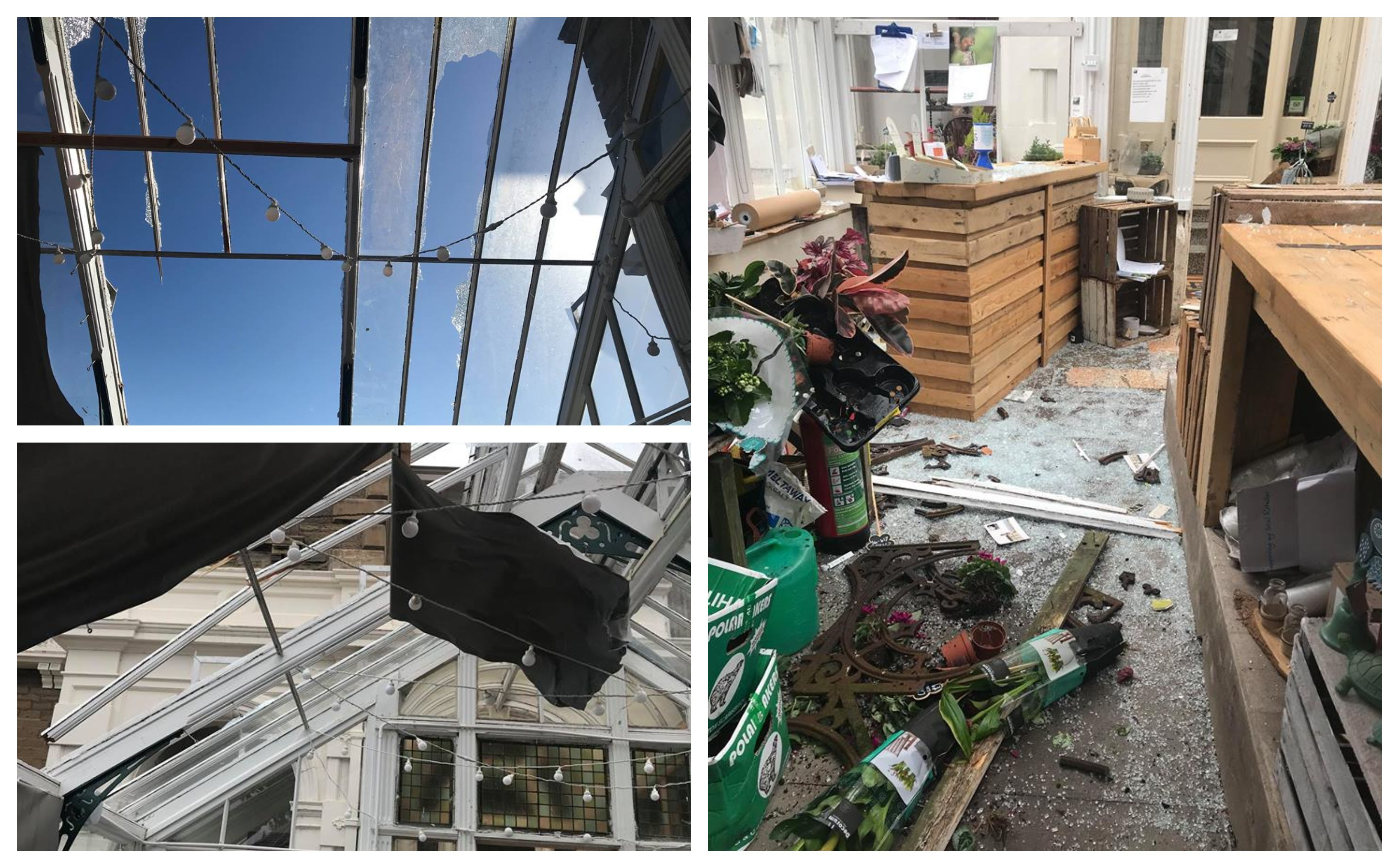 Storm Ali damaged the conservatory at Turriff's Garden Centre and Farm Shop.