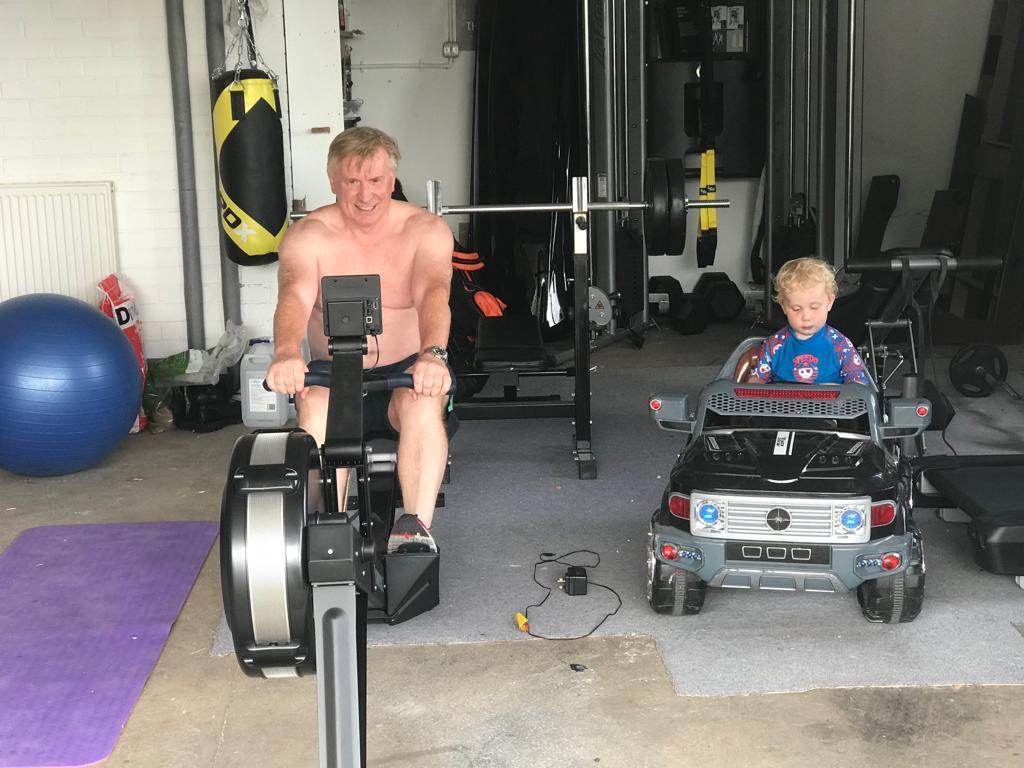 John training alongside his son Lochlann.