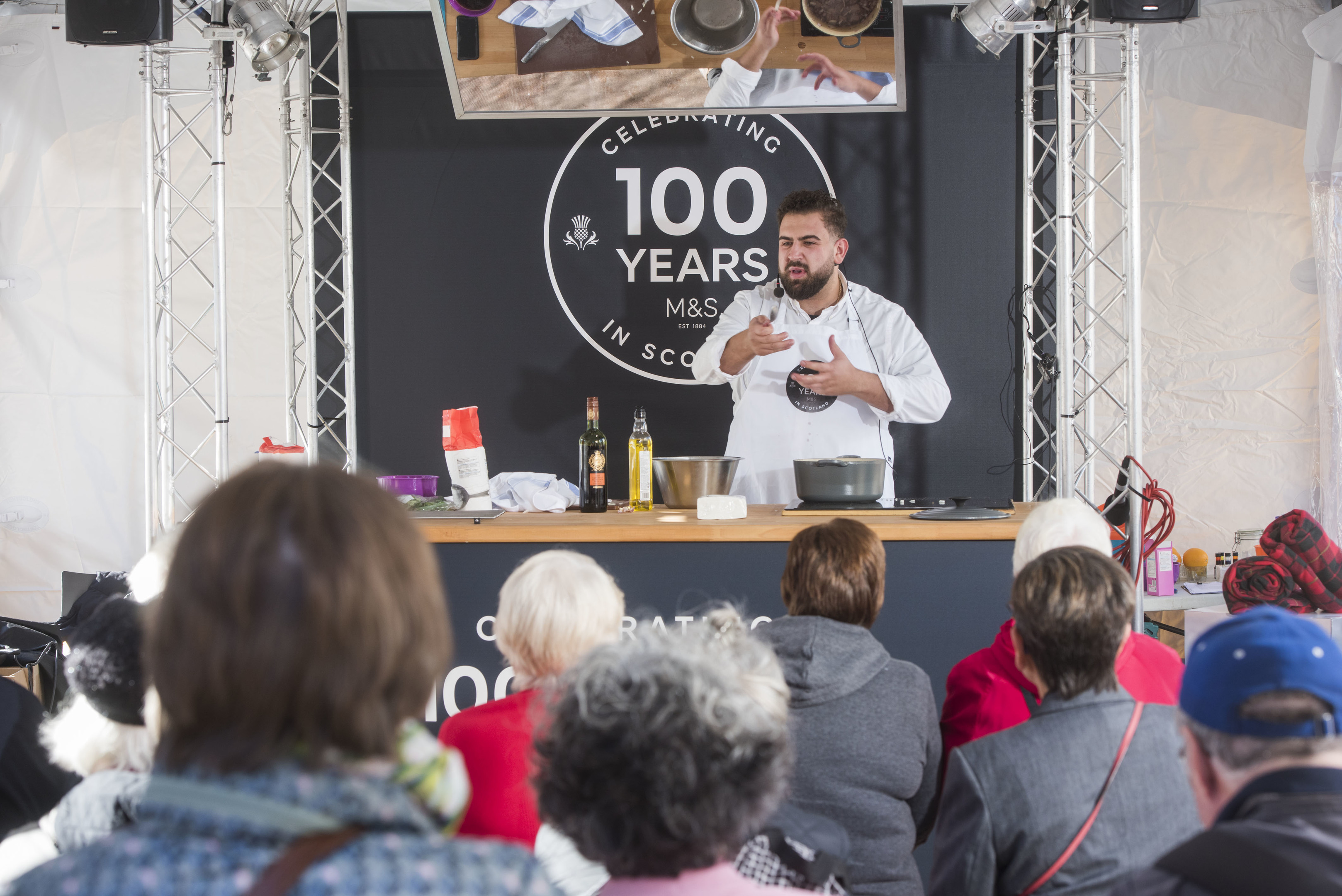 Chef Gio Pia demonstrates his skills on the M&S stand.