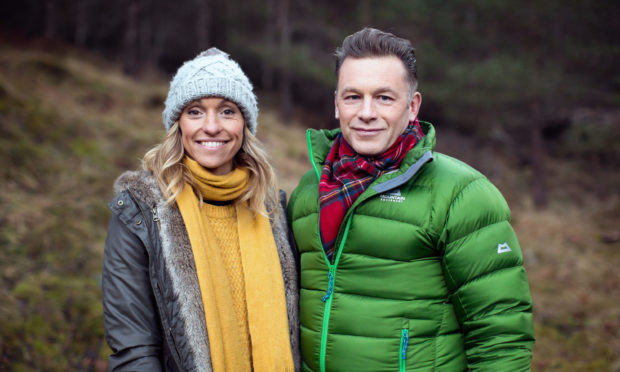 Michaela Strachan and Chris Packham prepare to present Autumnwatch.