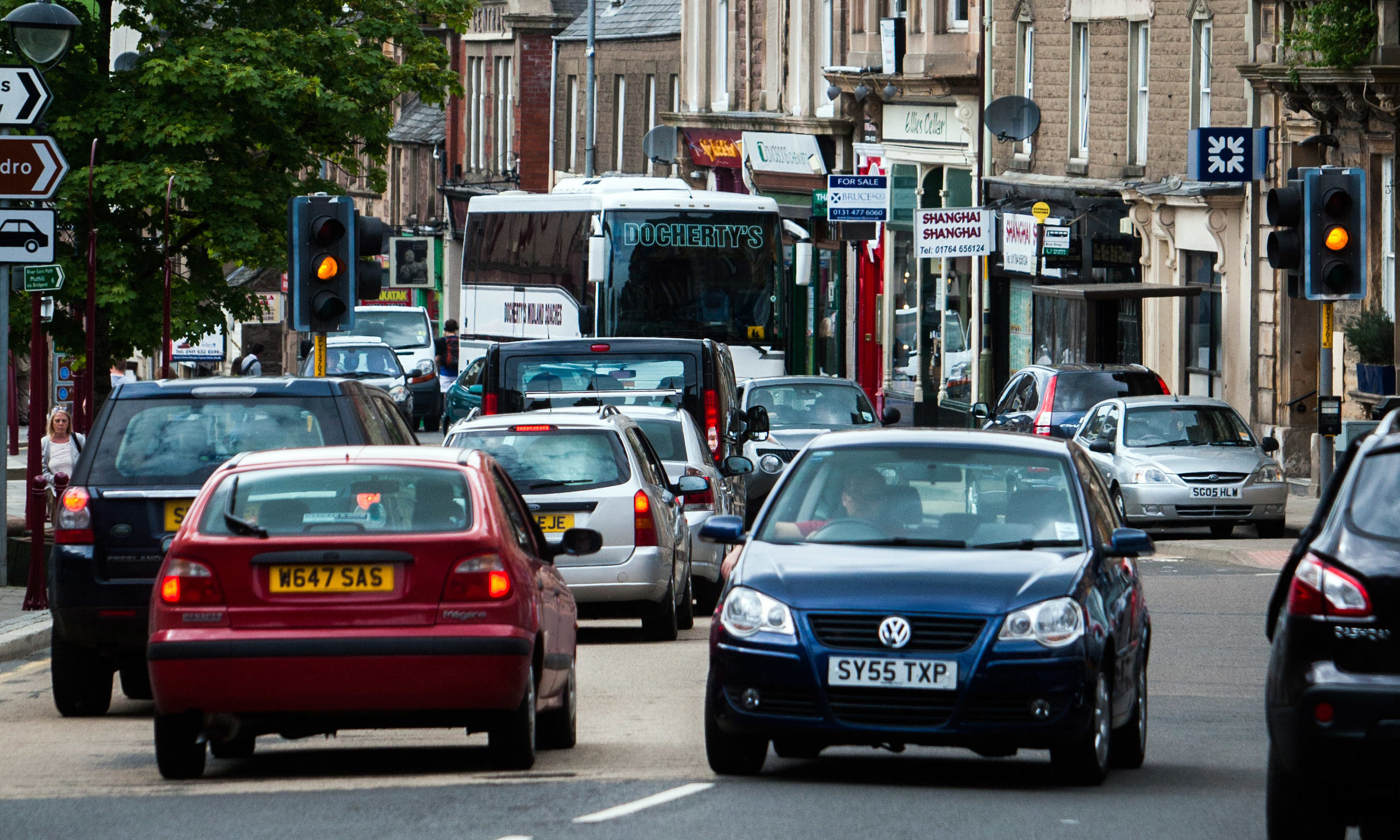 Traffic on Crieff High Street.