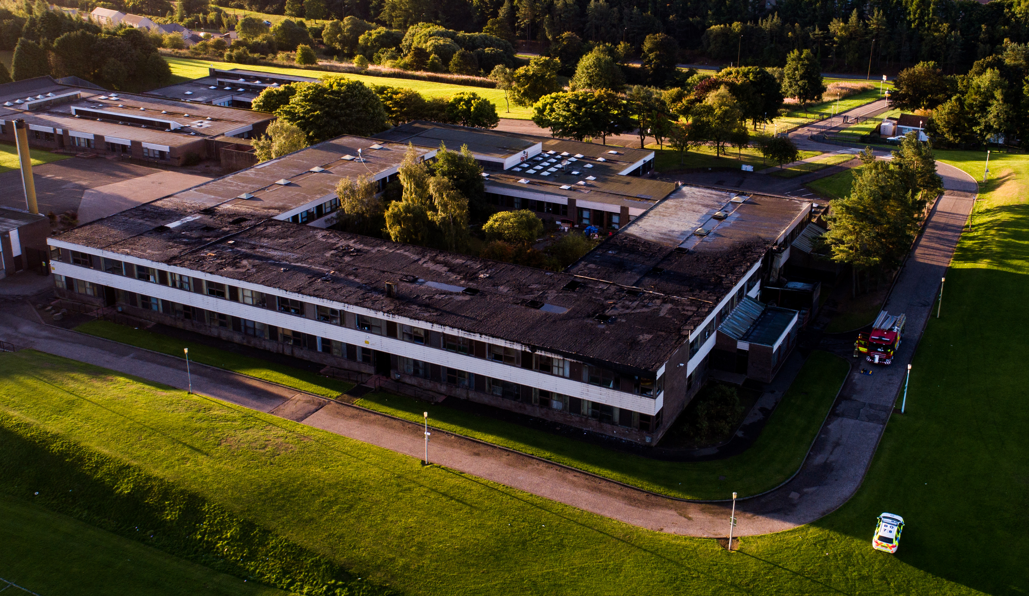 The fire-damaged section of Braeview Academy.