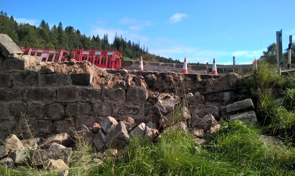 The damaged bridge on the Cairn O'Mount road.,