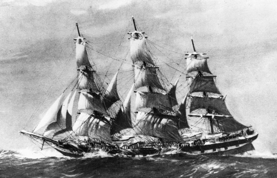 Fully rigged ship Duntrune - black and white photograph of a painting by Jack Spurling
