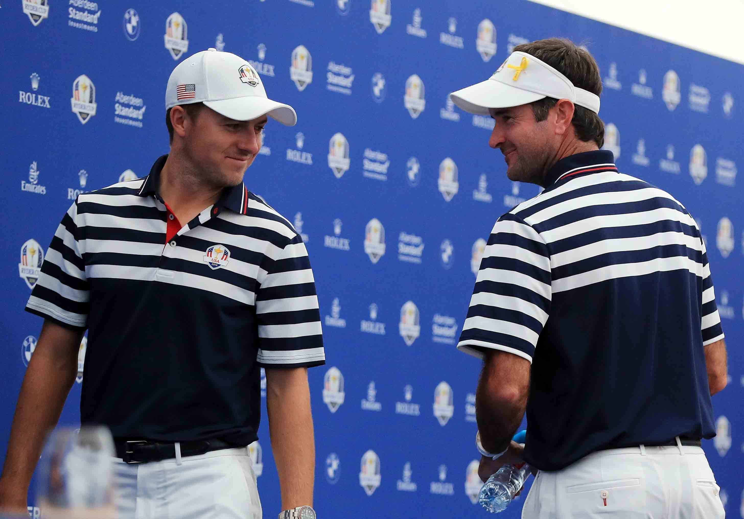 Jordan Spieth and Bubba Watson share the joke during their press conference at the Ryder Cup.