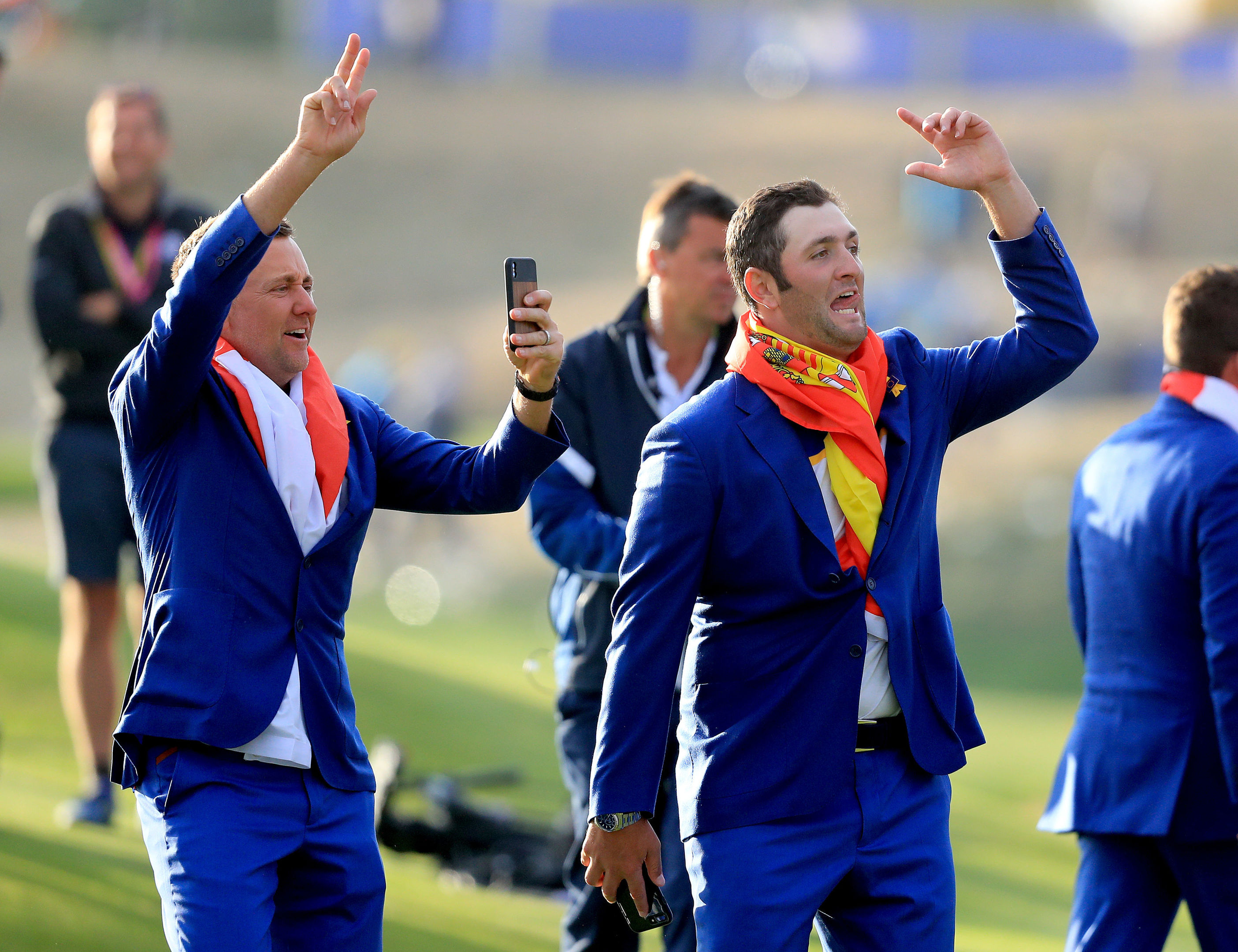 Team Europe's Ian Poulter (left) and Jon Rahm.