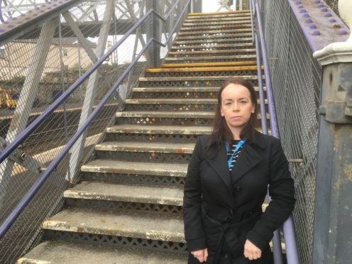 Councillor Kathleen Leslie pictured at Burntisland station.