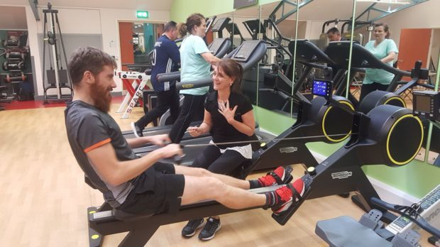 Kevin McKee with cardiac rehab instructor Sheona McHale.