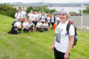 The charity walkers who joined Jenni Bell (front right) on the walk to Cupar Motorcycles  in memory of Graeme,