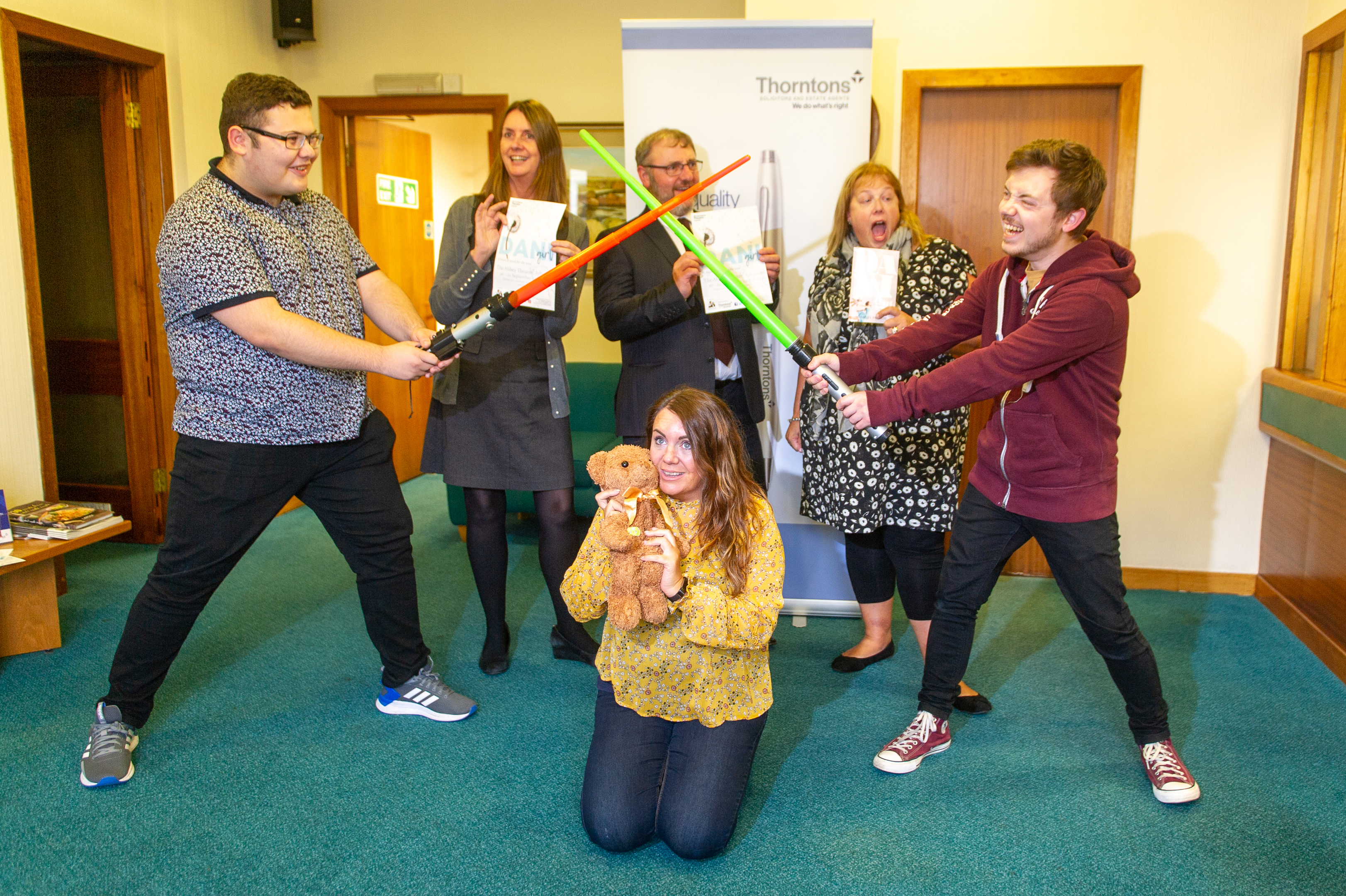 Some of the new theatre company members with representatives from main sponsors Thorntons Solicitors - back l to r - Sandra Sutherland and David Mathieson (Thorntons WS) and Janet Irving - front - Blair Ruxton, Heidi Cathro with 'Mr Fritz' and Ruaridh Mathieson.