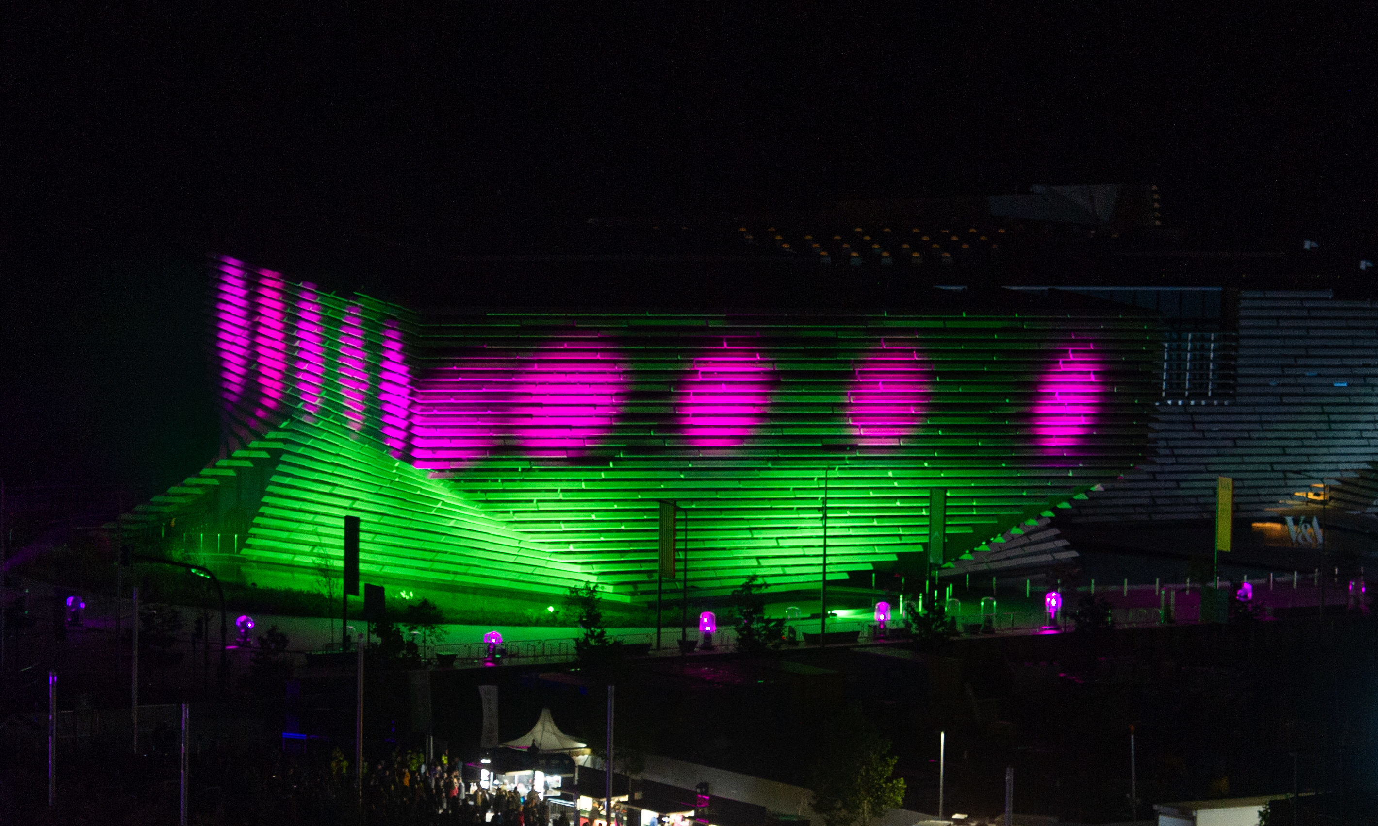 The 3D Festival light show celebrating the opening of the V&A.