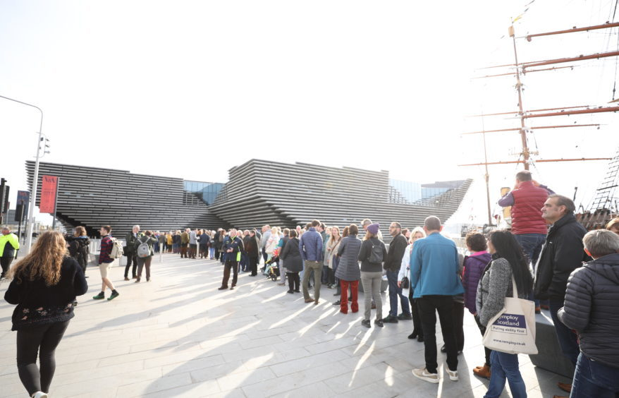 Lucky ballot winners queuing for their chance to see V&A Dundee on Saturday September 15