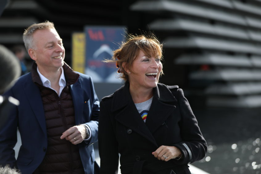 Lorraine Kelly with V&A Dundee director Philip Long