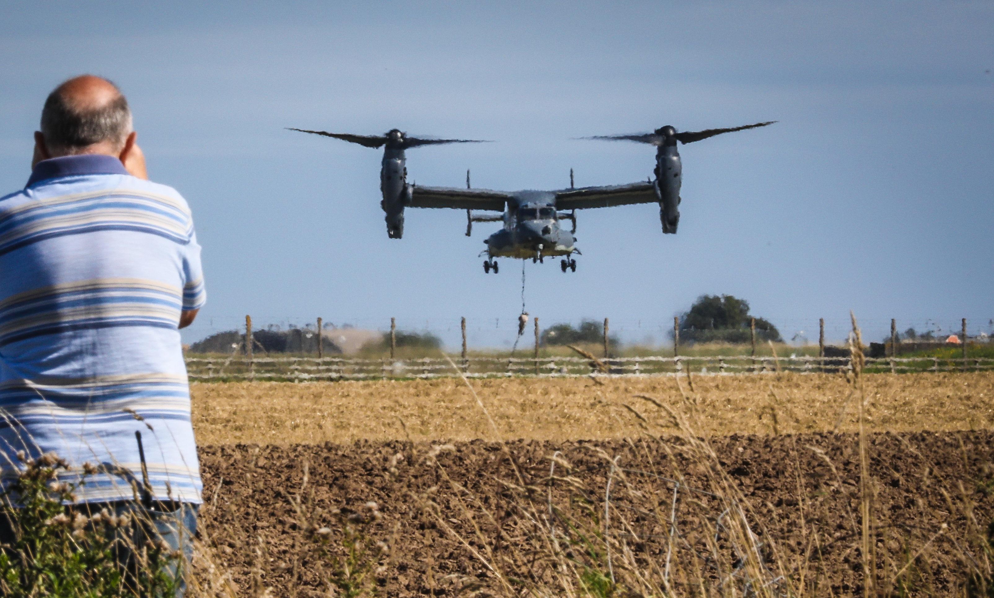 A striking looking Bell Boeing V-22 Osprey at Leuchars.