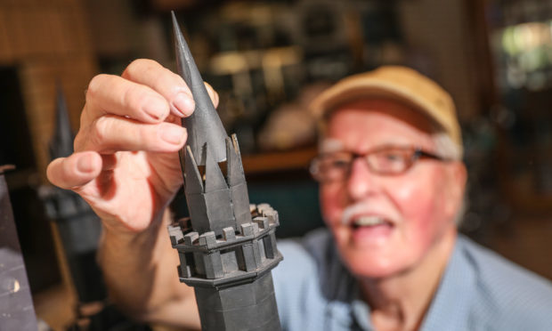 Rick Diamond with the model of the Scott Monument.