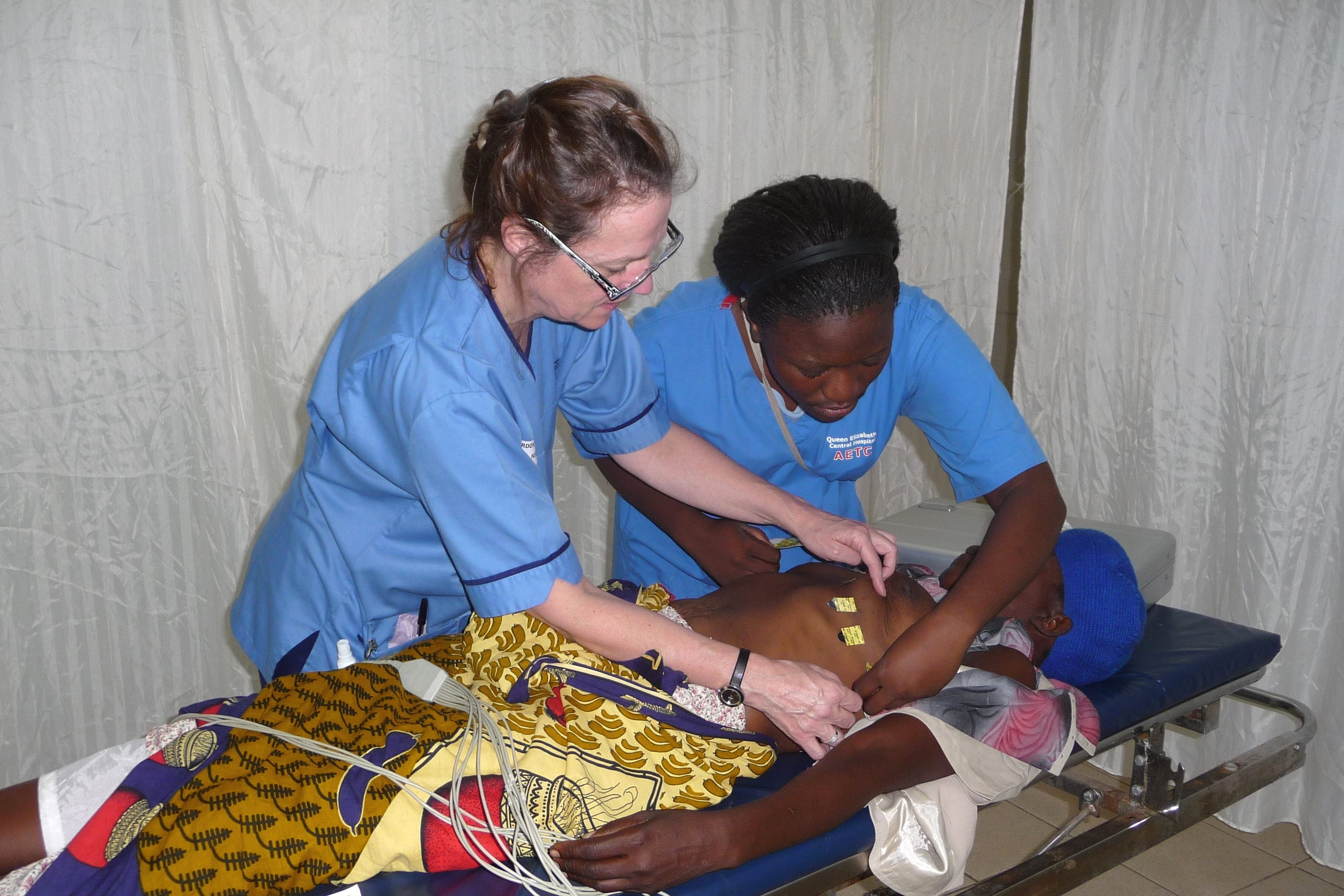 Lead project nurse Gwen Gordon at work mentoring staff in Blantyre, Malawi.