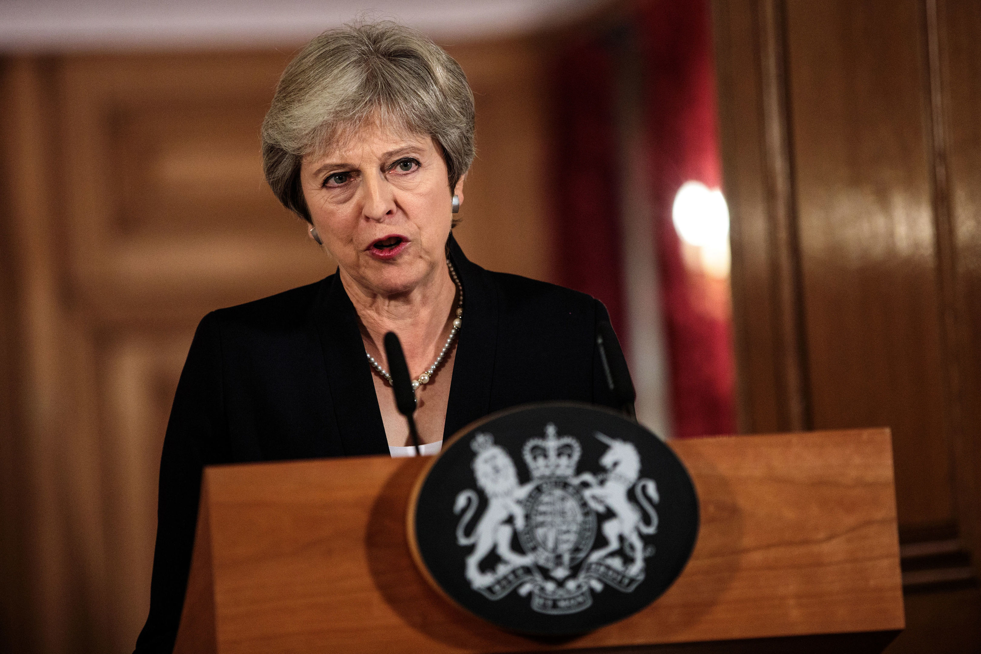 Prime Minister Theresa May speaking in Downing Street in the aftermath of the Salzburg summit.